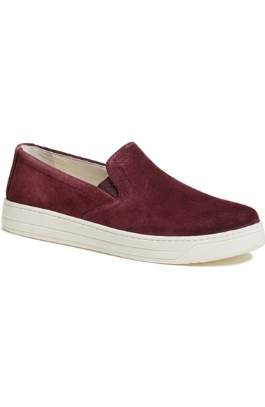 Prada Slip-On Sneaker (Women) Burgundy Suede slip-on sneakers fall 2016