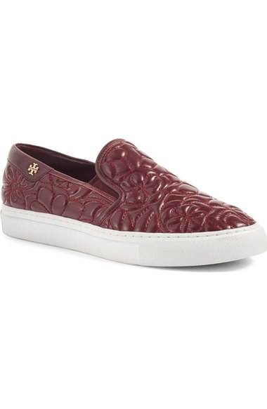 Tory Burch 'Sela' Topstitched Slip-On Sneaker (Women) Port slip-on sneakers fall 2016