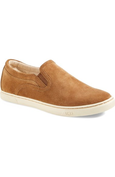 UGG® 'Fierce' Water Resistant Suede Slip-On Sneaker (Nordstrom Exclusive Color) (Women) Chestnut slip-on sneakers fall 2016
