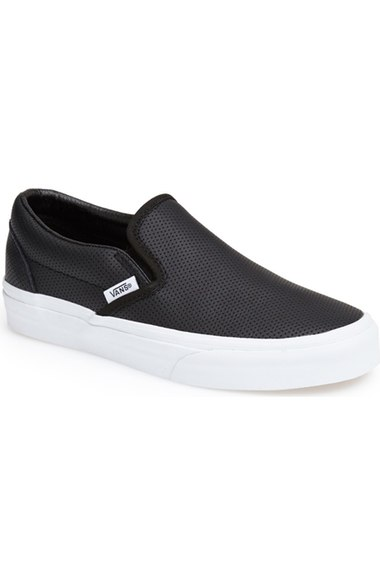Vans 'Classic' Perforated Slip-On Sneaker (Women) Leather Black slip-on sneakers fall 2016