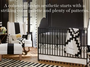 Stunning black and white Emily & Meritt for Pottery Barn Kids Collection nursery.