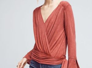 Deletta Sirpo Wrapped Pullover Red Anthropologie black friday sale