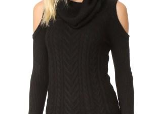 Haute Hippie Cold Shoulder Cable Knit Sweater Black cold shoulder turtlenecks