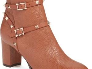 Valentino 'Rockstud' Block Heel Bootie (Women) Tan Leather ankle booties