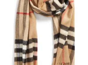 Burberry Heritage Giant Check Fringed Cashmere Muffler Camel Check plaid scarves