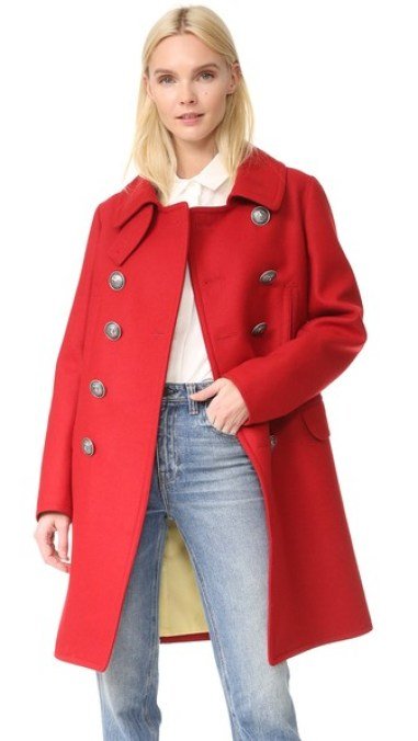 DSQUARED2 Military Double Breasted Coat Red