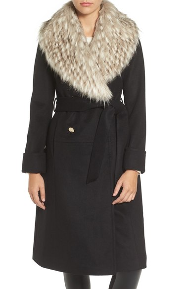 Eliza J Faux Fur Collar Belted Wool Blend Long Coat Black double breasted coats