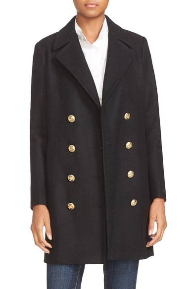FRAME Double Breasted Wool Coat Noir