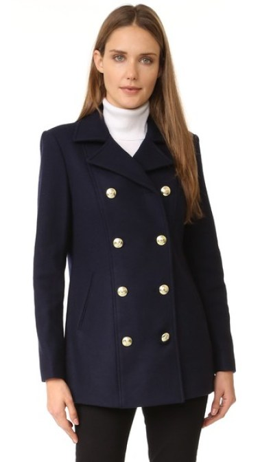 FRAME Frame Atelier Le Double Breasted Peacoat Navy Blue double breasted coats