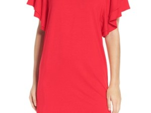 Felicity & Coco Ruffle Sleeve Shift Dress (Regular & Petite) (Nordstrom Exclusive) Red