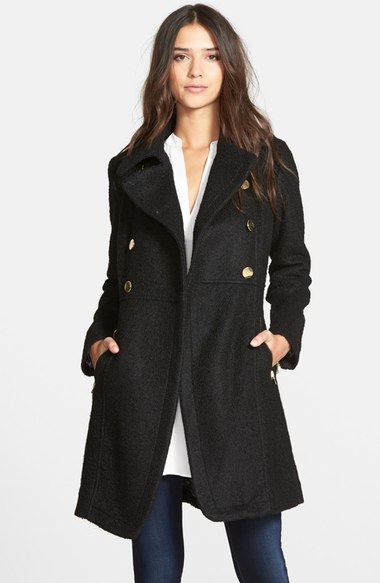 GUESS Double Breasted Bouclé Cutaway Coat (Regular & Petite) Black double breasted coats