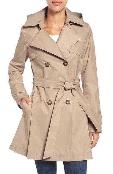Halogen® Detachable Hood Trench Coat (Regular & Petite) Sand double breasted coats winter