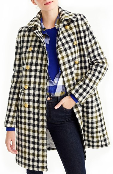 J.Crew Oxford Check Double Breasted Coat Black Plaid Gold Tone Buttons