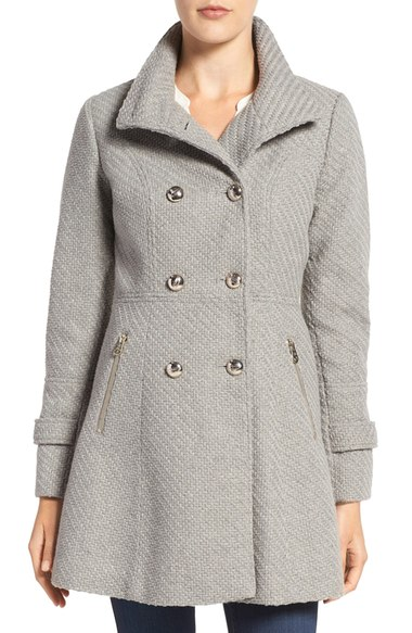 Jessica Simpson Fit & Flare Officers Coat Grey  double breasted coats winter