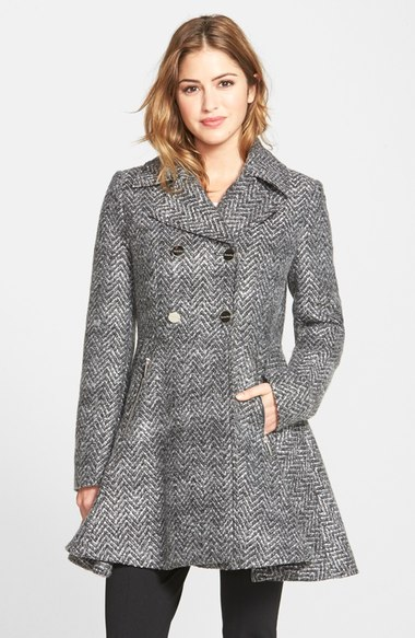 Laundry by Shelli Segal Chevron Twill Double Breasted Skirted Coat (Online Only) Grey Black
