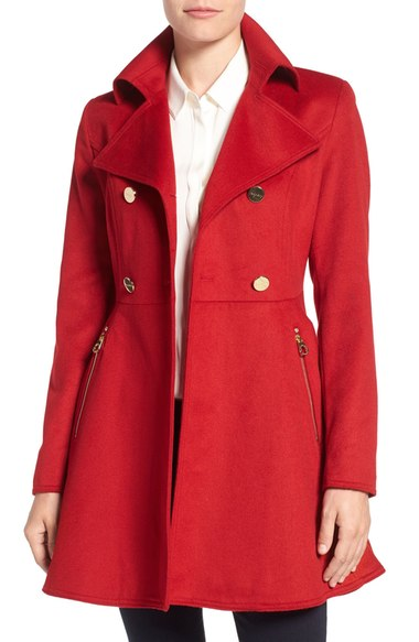 Laundry by Shelli Segal Double Breasted Fit & Flare Coat (Regular & Petite) Red Dahlia double breasted coats