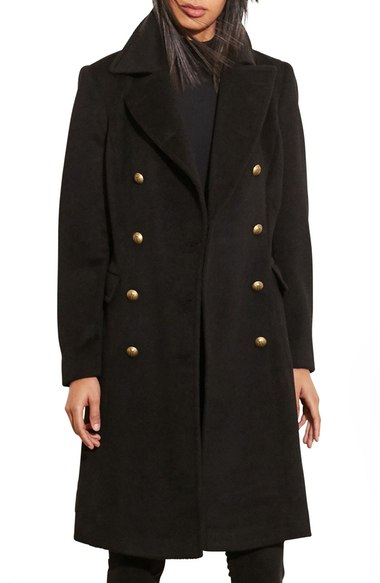 Lauren Ralph Lauren Skirted Wool Blend Military Coat Black  double breasted coats
