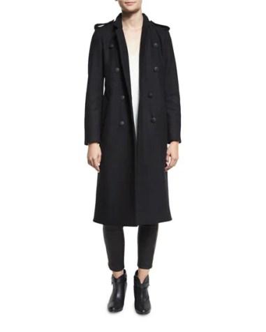 Rag & Bone Ashton Tailored Double-Breasted Peacoat Black  double breasted coats