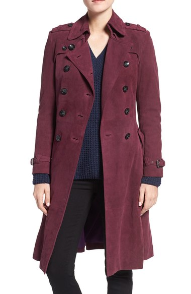 Rebecca Minkoff 'Amis' Double Breasted Suede Trench Coat Deep Magenta