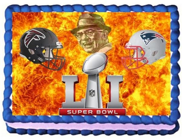 "Super Bowl 51 ""Vince Lombardi"" Atlanta Falcons VS New England Patriots Football Party 1/4 Sheet Cake Topper By MaryJanesCakes"