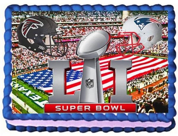 Super Bowl 51 Atlanta Falcons VS New England Patriots Football Party 1/4 Sheet Cake Topper.