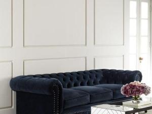 Tia 3-Cushion Chesterfield Sofa Navy Nailhead Trim velvet chesterfield sofas