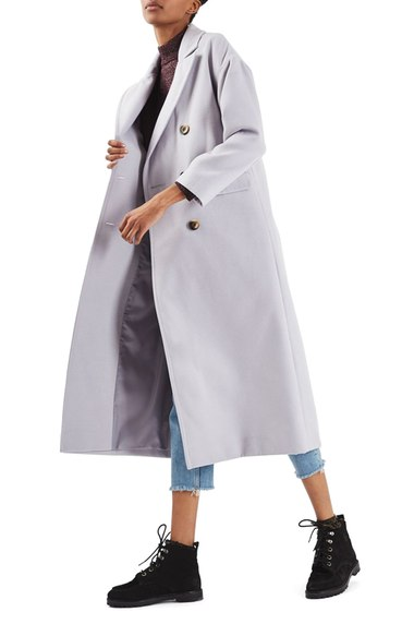 Topshop Double Breasted Coat Light Grey
