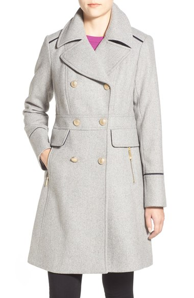 Vince Camuto Wool Blend Double Breasted Officer's Coat Light Grey