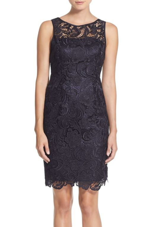 Adrianna Papell Illusion Bodice Lace Sheath Dress Navy Blue 2017 nordstrom winter sale