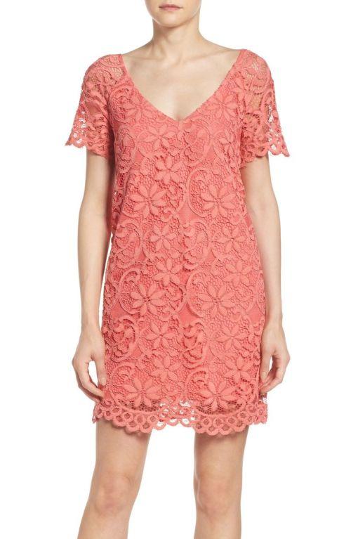 BB Dakota Rene Corded Lace Shift Dress Cantaloupe Nordstrom winter sale