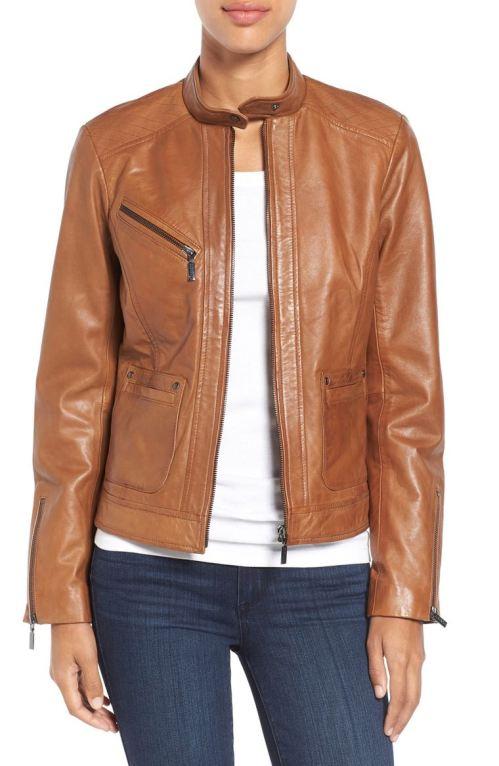 Bernardo Kirwin Leather Jacket (Regular & Petite) New Cognac Nordstrom winter sale