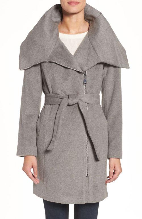 Cole Haan Signature Belted Asymmetrical Wool Blend Coat Platinum 2017 Nordstrom winter sale