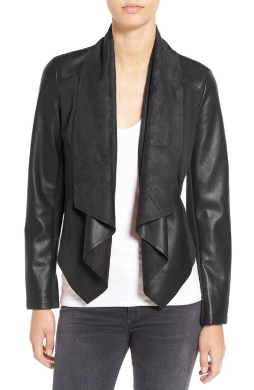 KUT from the Kloth 'Ana' Faux Leather Drape Front Jacket (Regular & Petite) Black Nordstrom winter sale
