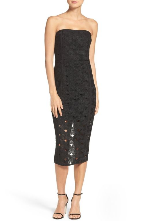 MISHA COLLECTION Margot Midi Dress (Nordstrom Exclusive) Ebony Black 2017 Nordstrom winter sale