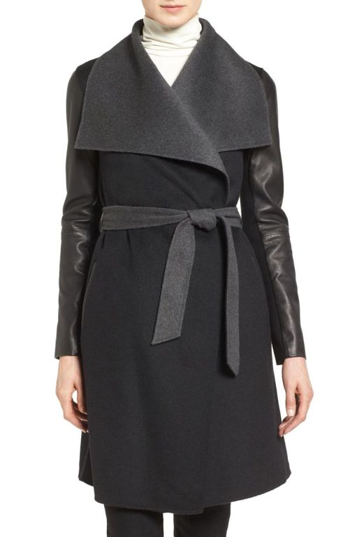 Mackage Leather Sleeve Wool Blend Wrap Coat Black Charcoal 2017 Nordstrom winter sale