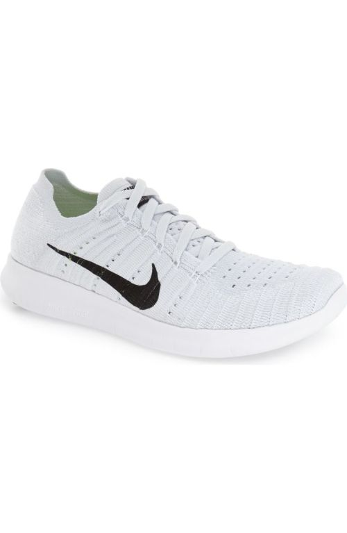 Nike 'Free Flyknit' Running Shoe (Women) White Black Platinum 2017 Nordstrom winter sale