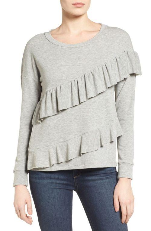 Pleione French Terry Ruffle Sweatshirt (Regular & Petite) Heather Grey Nordstrom winter sale
