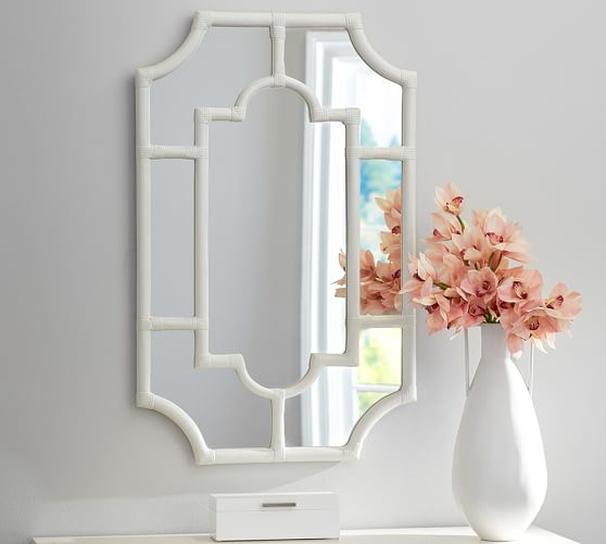 Pottery Barn AVERY WHITE BAMBOO MIRROR 2017 pottery barn presidents day premier event sale