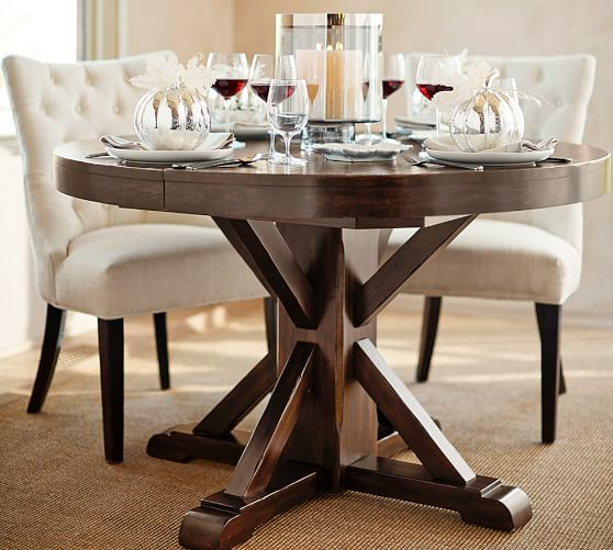 Pottery Barn BENCHWRIGHT EXTENDING PEDESTAL DINING TABLE pottery barn premier event sale