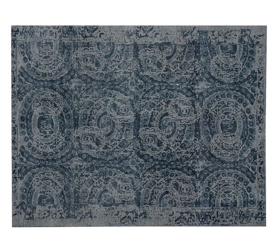 Pottery Barn BOSWORTH PRINTED WOOL RUG - BLUE pottery barn friends and family sale