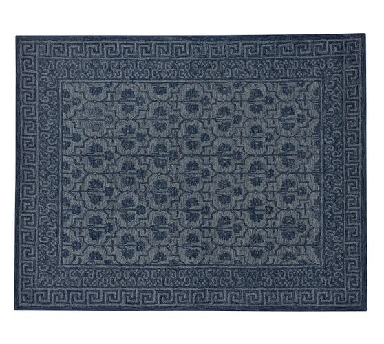 Pottery Barn BRAYLIN TUFTED WOOL RUG - BLUE pottery barn friends and family sale