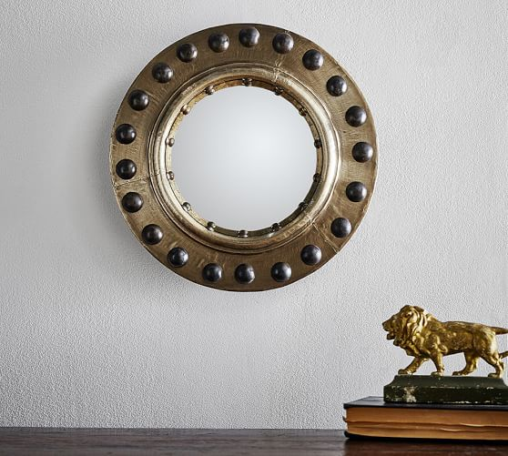 Pottery Barn RIVETED PORTHOLE CONVEX WALL MIRROR pottery barn presidents day Premier Event sale