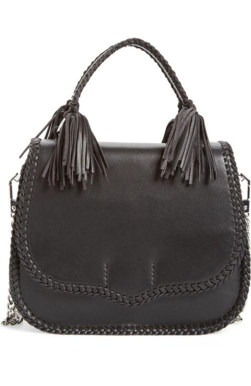 Rebecca Minkoff Medium Chase Leather Saddle Bag Black Silver Nordstrom winter sale