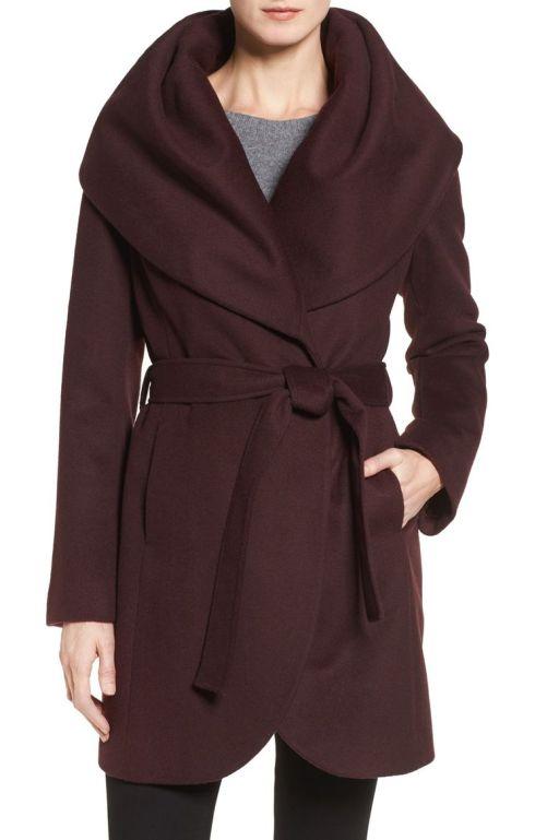 T Tahari Wool Blend Belted Wrap Coat Merlot 2017 Nordstrom Winter Sale