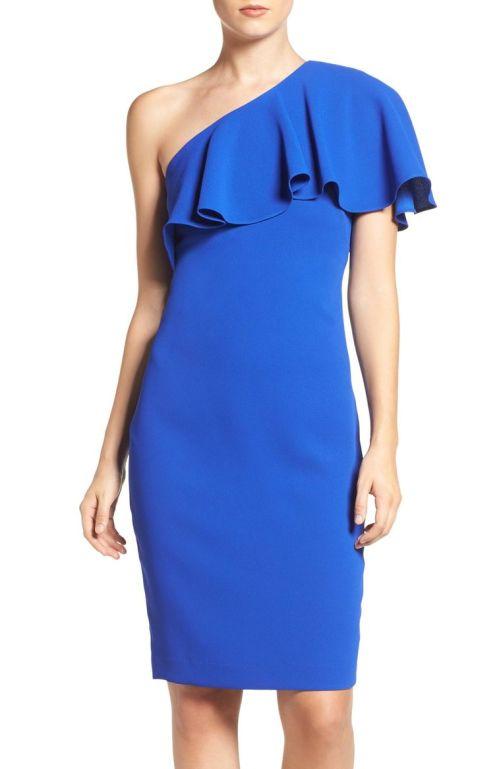 Vince Camuto One-Shoulder Dress (Regular & Petite) Cobalt Blue 2017 Nordstrom winter sale