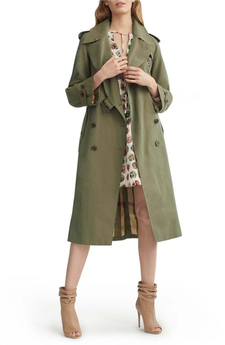 Burberry Tropical Gabardine Oversized Trench Coat Bright Olive top trench coats for spring 2017