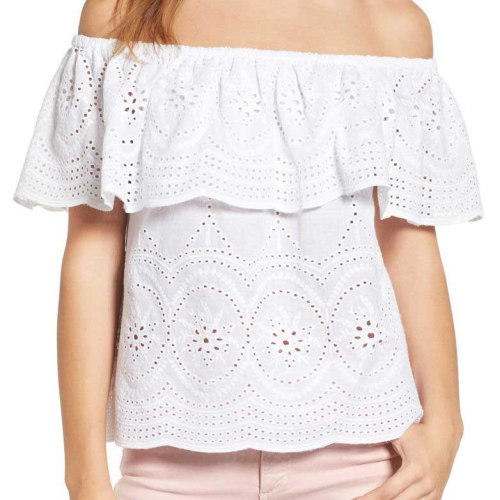 CUPCAKES AND CASHMERE Davy Off the Shoulder Eyelet Top White eyelet tops for spring 2017