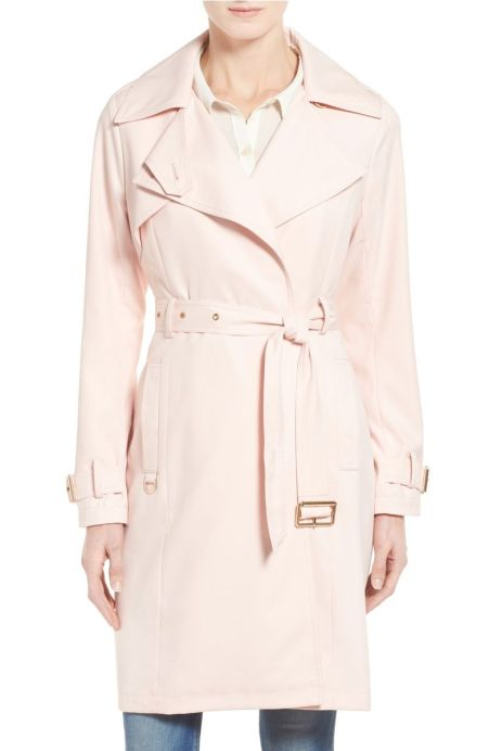 FRENCH CONNECTION Flowy Belted Trench Coat Blush Pink top trench coats for spring 2017