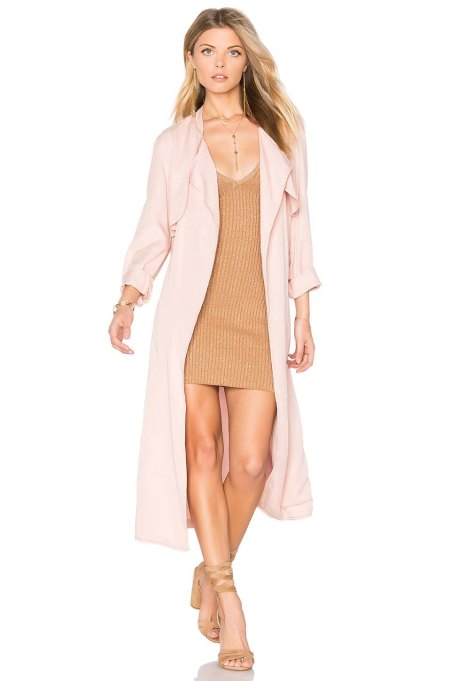 Monrow Long Trench Coat Cheeky Pink trench coats spring 2017
