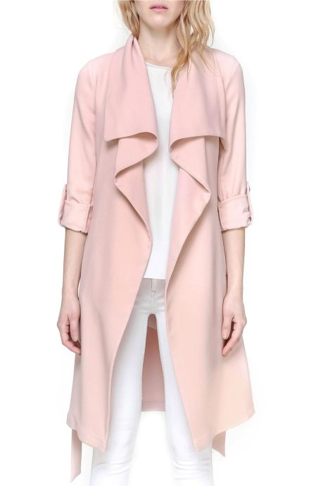 Soia & Kyo Roll Sleeve Drape Front Long Trench Coat Rose trench coats spring 2017